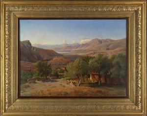 Louis Gurlitt: Blick vom Dorf Krissa auf den Golf von Korinth, 1858.