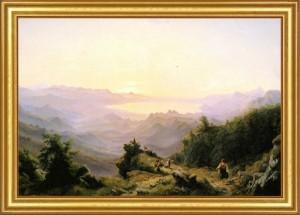 Robert Kummer: Blick von den Bergen Montenegros auf den Scutari-See, 1848/1850. Leihgabe im Muzeum Lubuskie in Gorzów Wielkopolski.