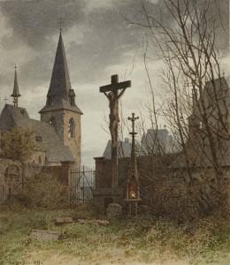 Carl Reiffenstein: Die Michaelskirche in Frankfurt nördlich vom Dom, 1830 abgebrochen, mit der Totenleuchte neben dem Kruzifix. Aquarell der Kunsthandlung Fach in Frankfurt.