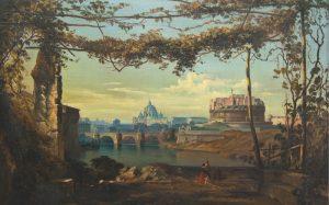 Anton Castell, Rom, Petersdom und Engelsburg, 1856.